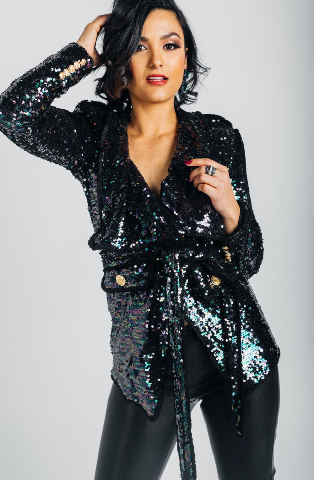Sequin waterfall blazer