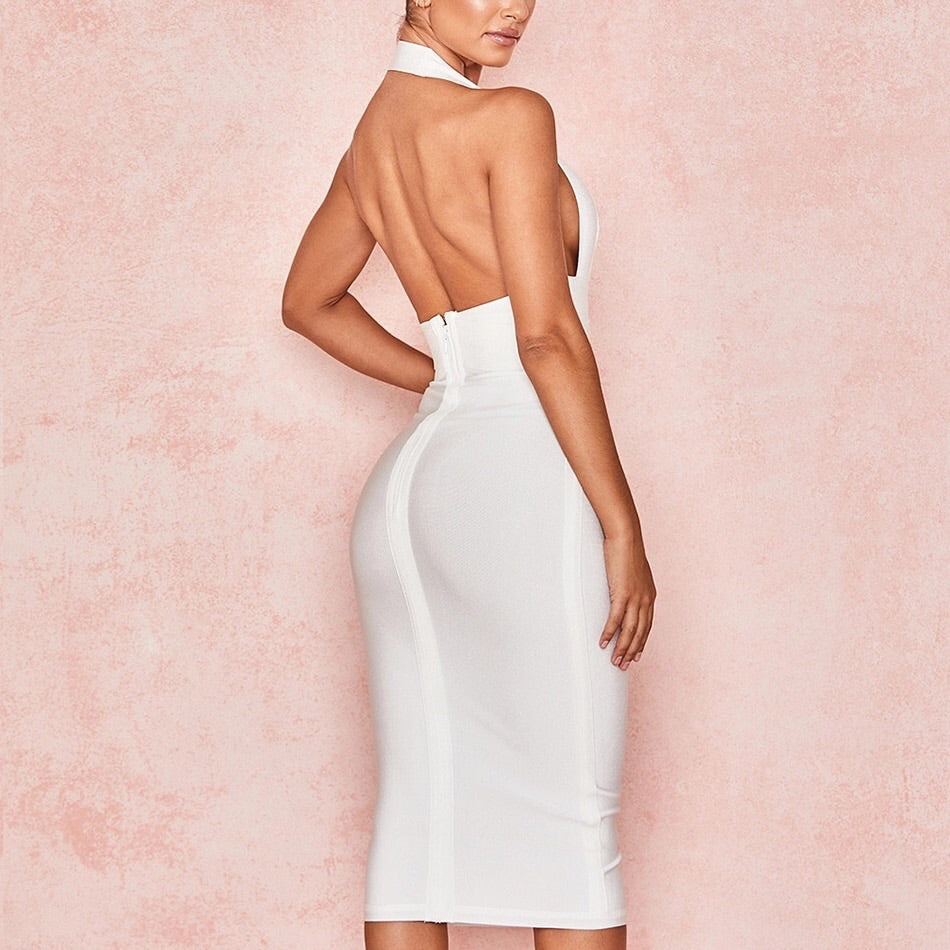 Deep V X bandage dress