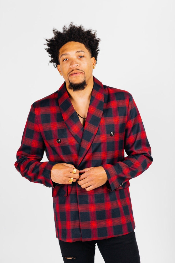 Red double breasted plaid blazer