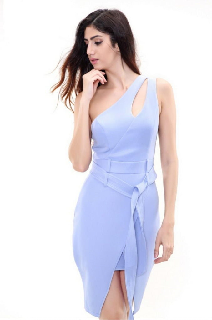 One shoulder tulip dress