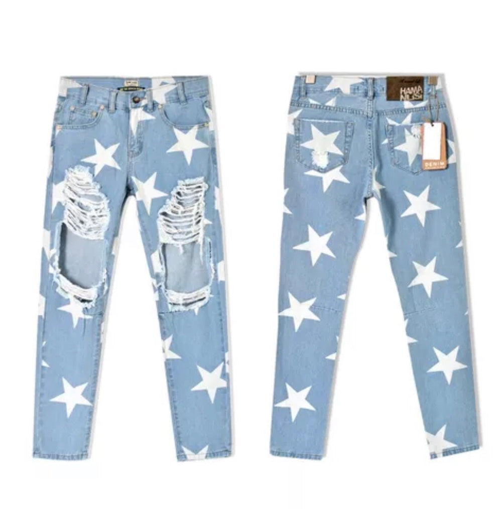 Star ripped  boyfriend jean