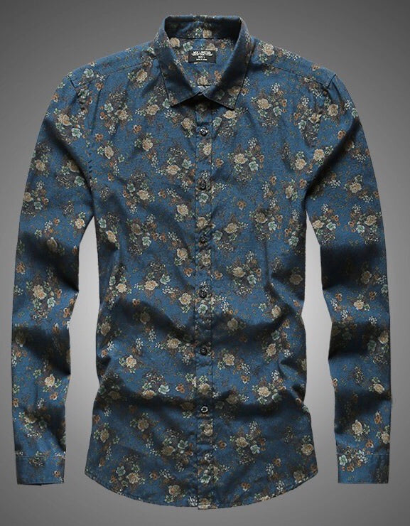 Floral teal button up shirt
