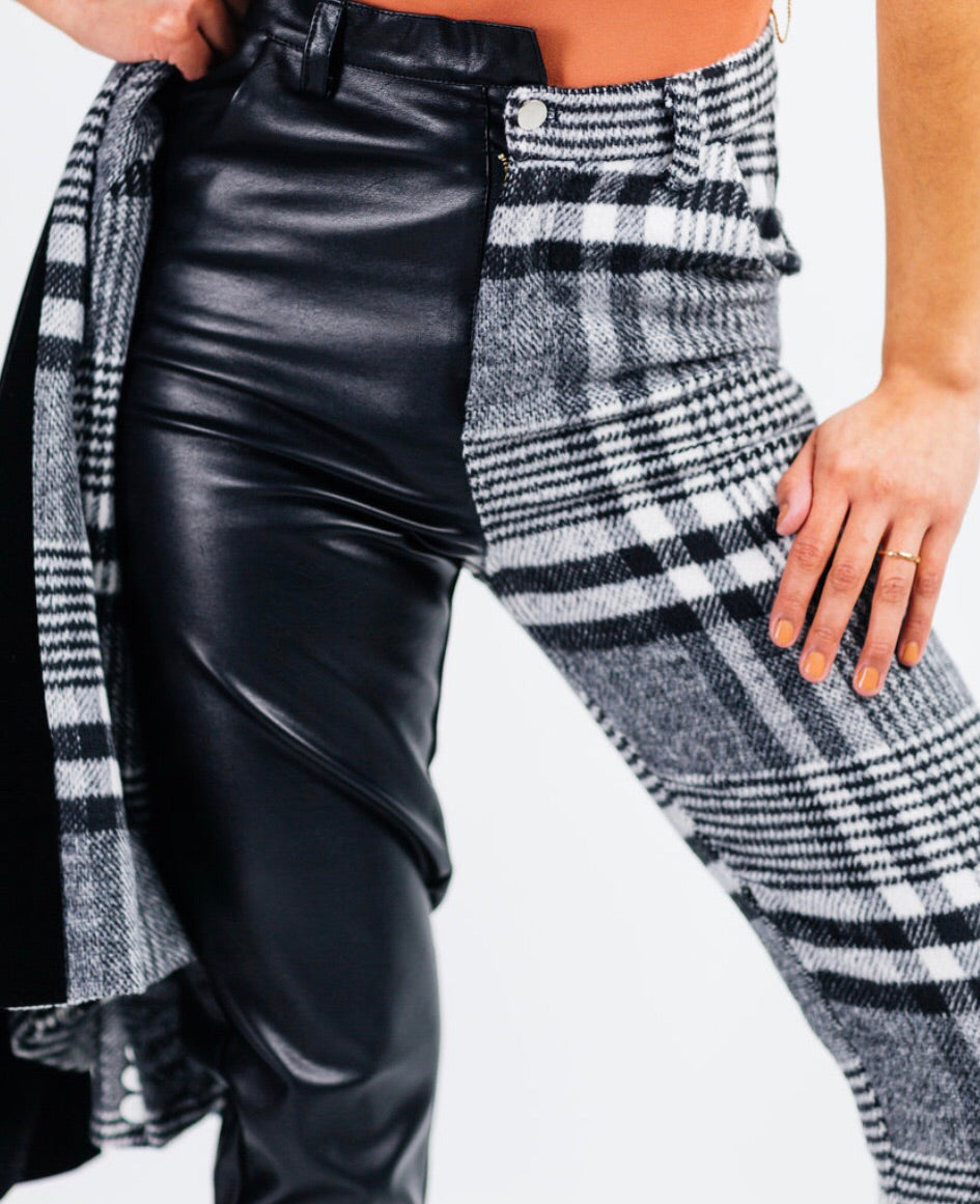 Plaid and leather pant