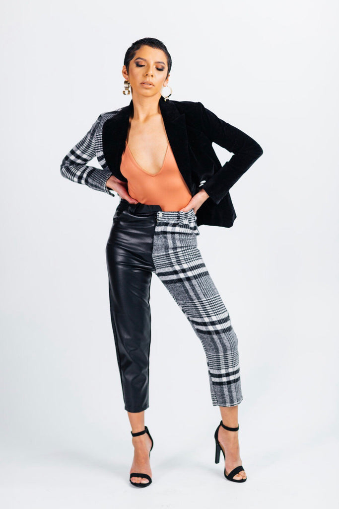 Plaid and velvet pant suit
