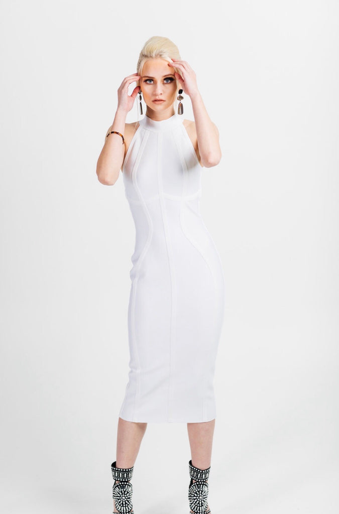 Mock neck bandage midi dress