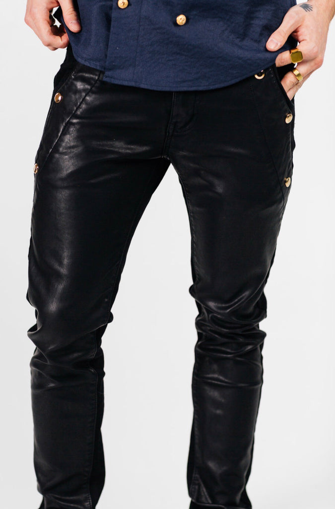 Leather denim skinny pant