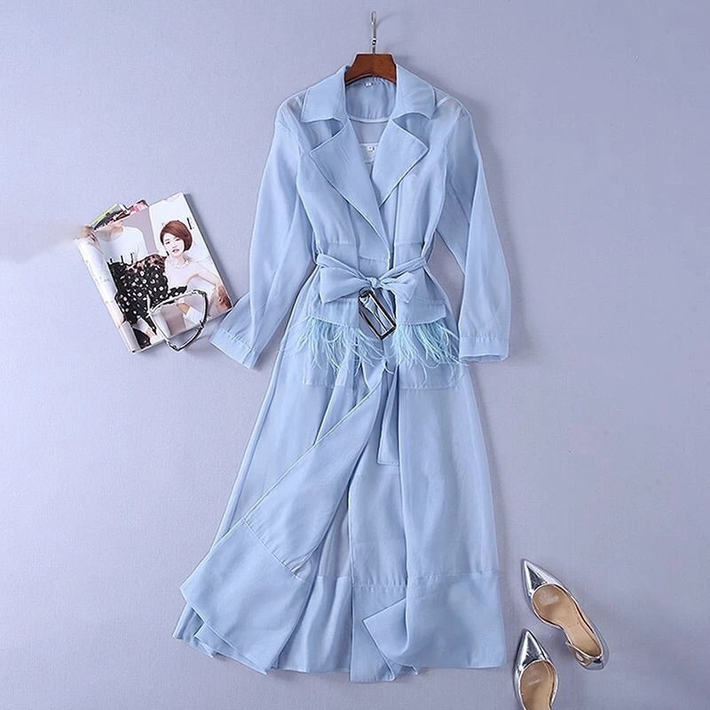 Parisian blue trench coat set
