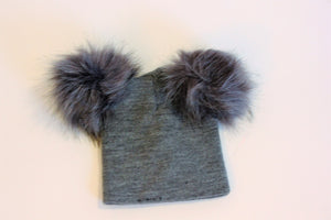 Knit Hat with detachable Fur Balls for Baby/Kids