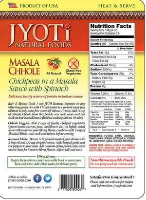 Jyoti Natural Foods Chickpeas with Potatoes and Onions, Vegetarian, 425 Gram Cans (Pack of 12)