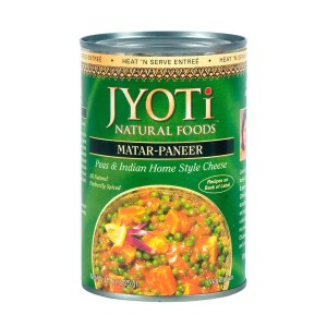 Jyoti Natural Foods Matar Paneer, Peas & Paneer Cheese, Vegetarian, 425 Gram Cans, (Pack of 12)