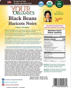 Jyoti Natural Foods Organic Black Beans, 10 oz(Pack of 6)