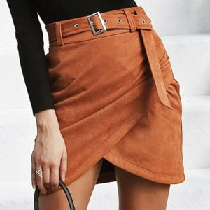 Asymmetric belt suede skirts women Bodycon Skirt