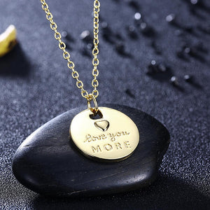 Love you More Coin Necklace in 18K Gold Plated