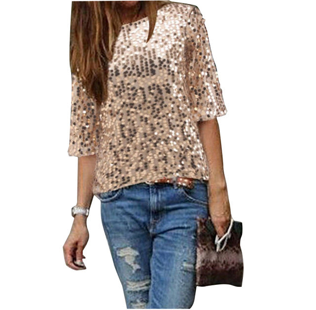 Sexy Loose Off Shoulder Glitter Blouses - S + XL Sizes