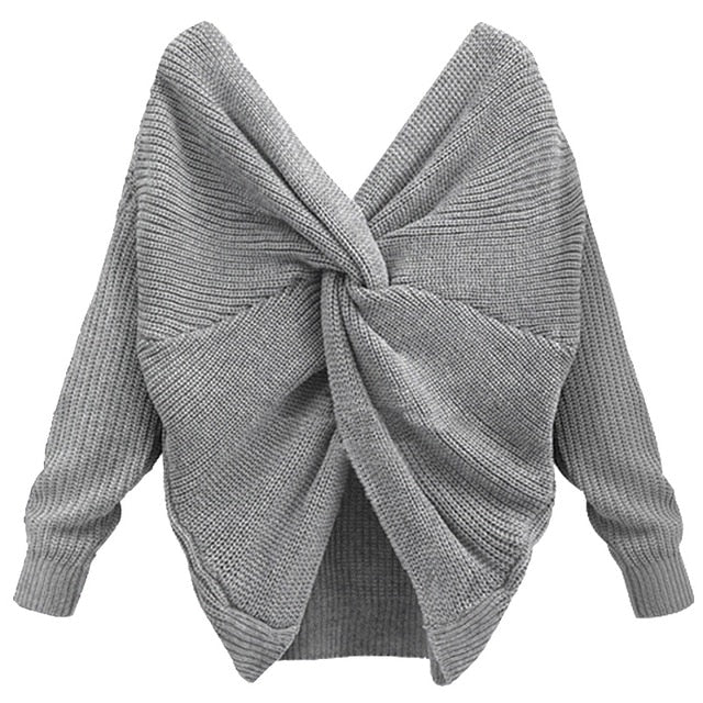 Twisted Back Knitted Sweater For Women