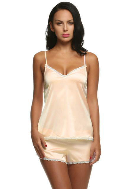 Shorts Sets V-Neck Satin Sleepwear