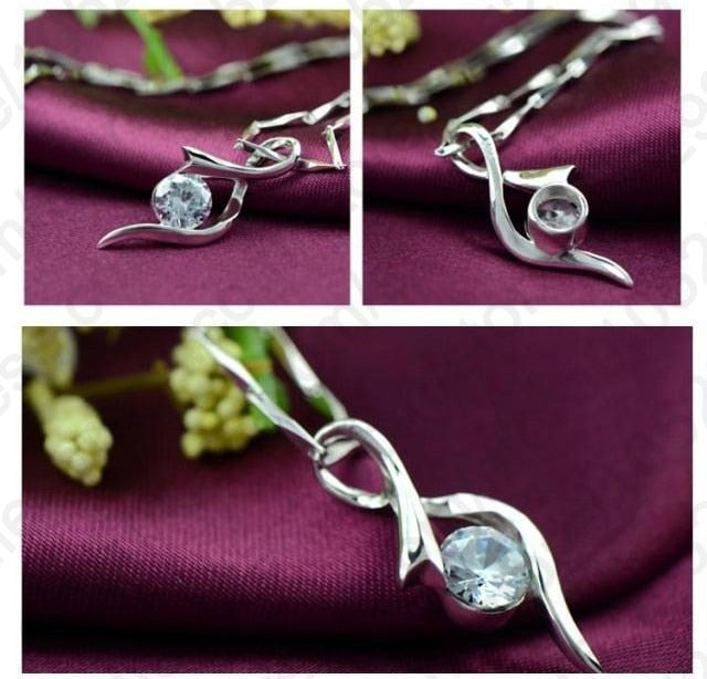 925 Silver Cubic Zircon Pendant Necklace