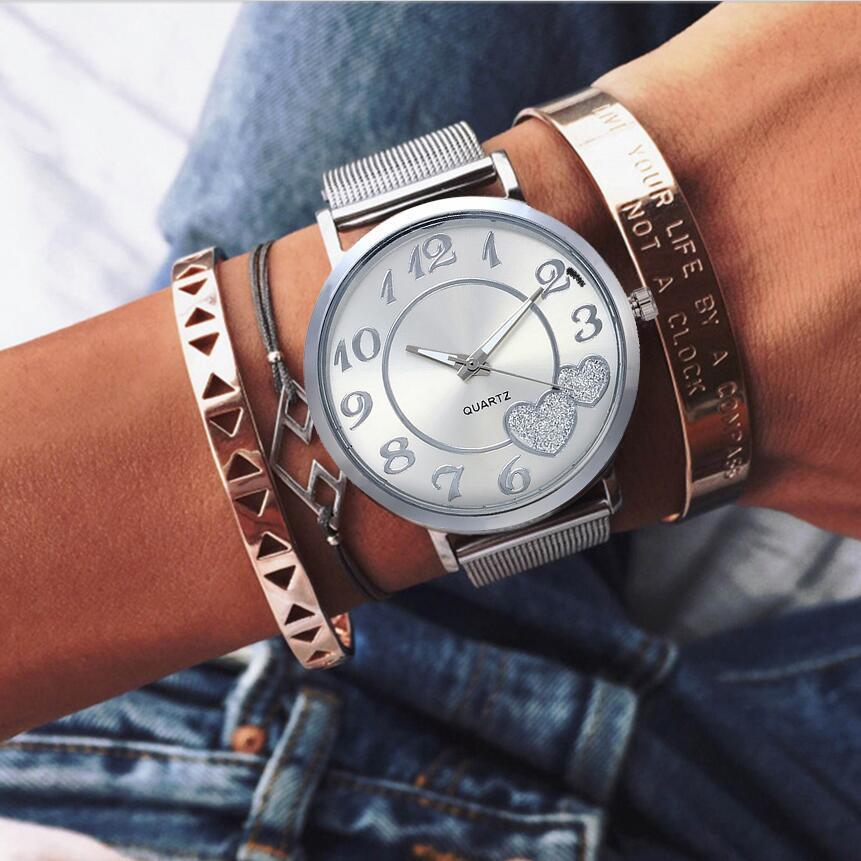 Mesh Love Heart Dial Wristwatches