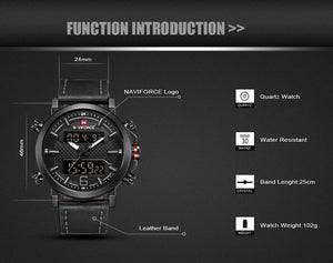 Sport Watch Leather Waterproof Men Watches