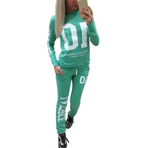 Sweatshirt Set Long Sleeve Number 10 Letter Print Tops