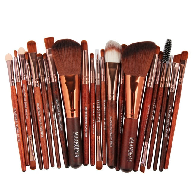 Set of Makeup Brushes Soft Synthetic Hair 22 pcs