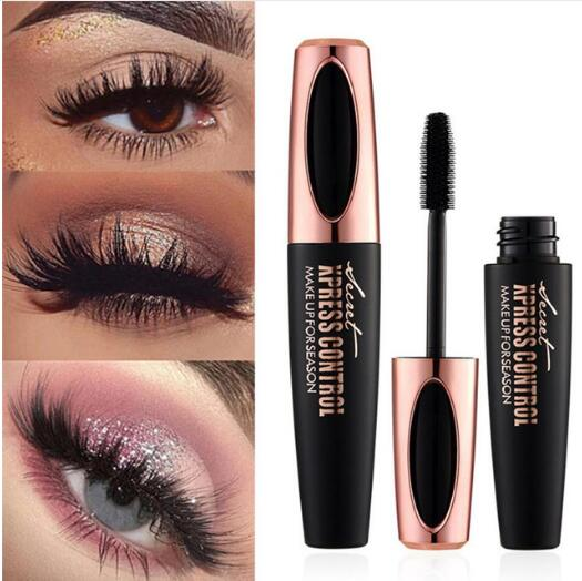 4D Silk Fiber Eyelashes Makeup Waterproof Silicone Brush Head Mascara