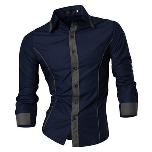 Shirts Men Casual Shirt Long Sleeves Slim Fit