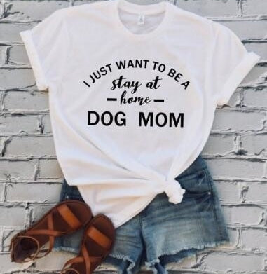 DOG MOM T-shirt Women Casual Tees Trendy