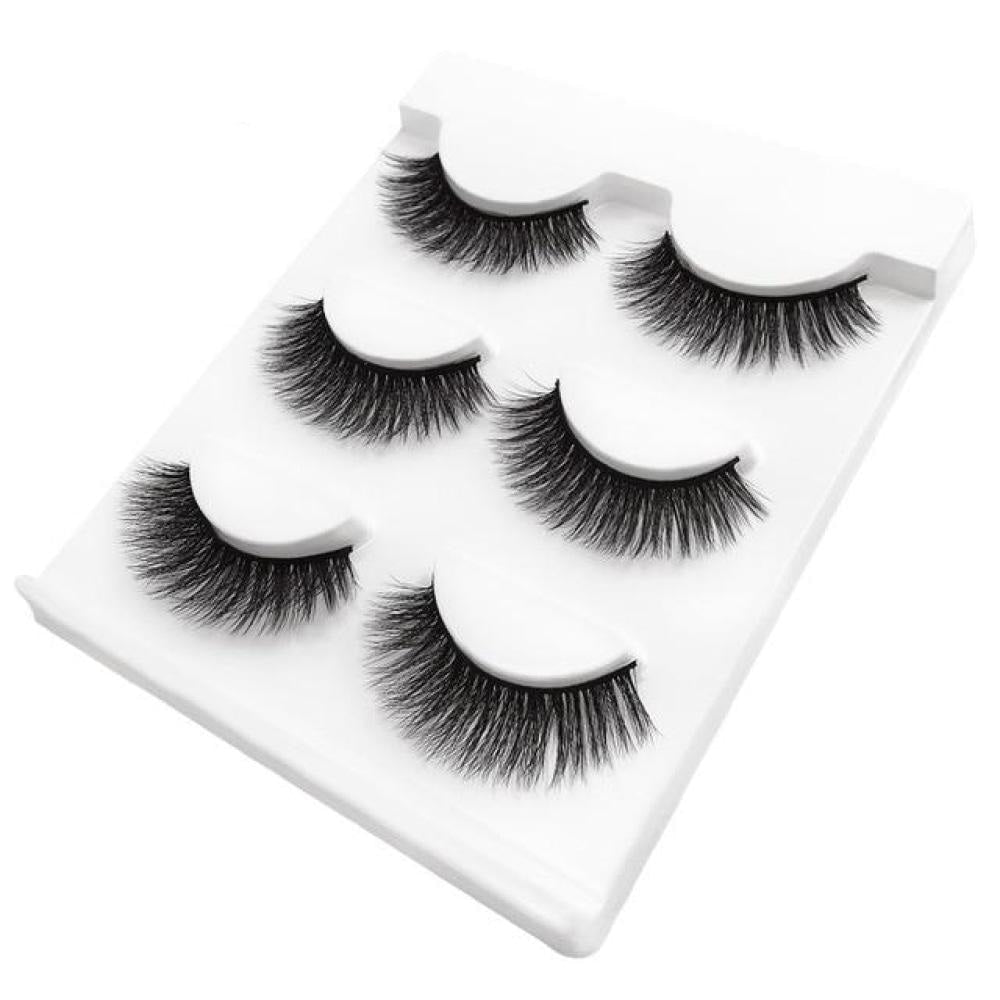 3 Pairs Natural False Mink Eyelashes - 19 variants