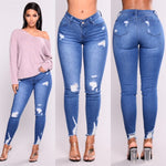 High Waist Jeans Slim Ripped Holes