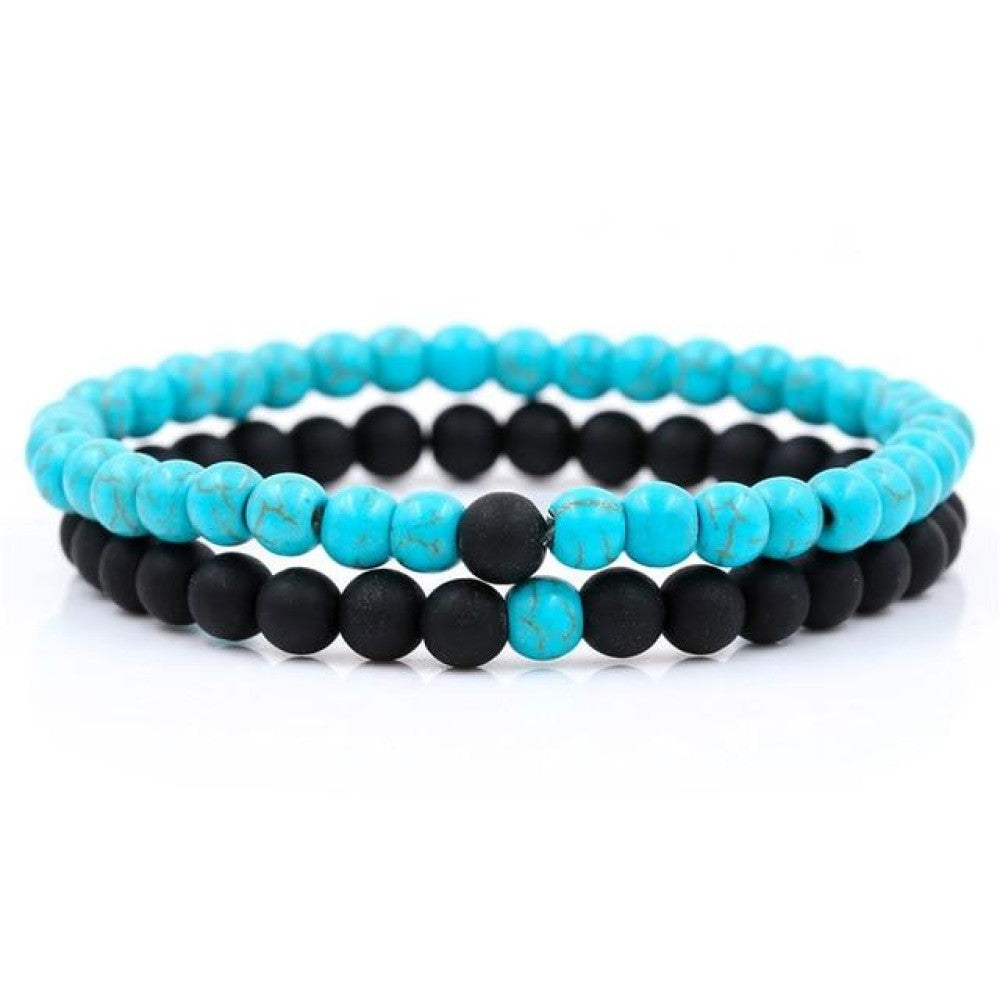 Beaded Bracelets Bangles Set Natural Lava