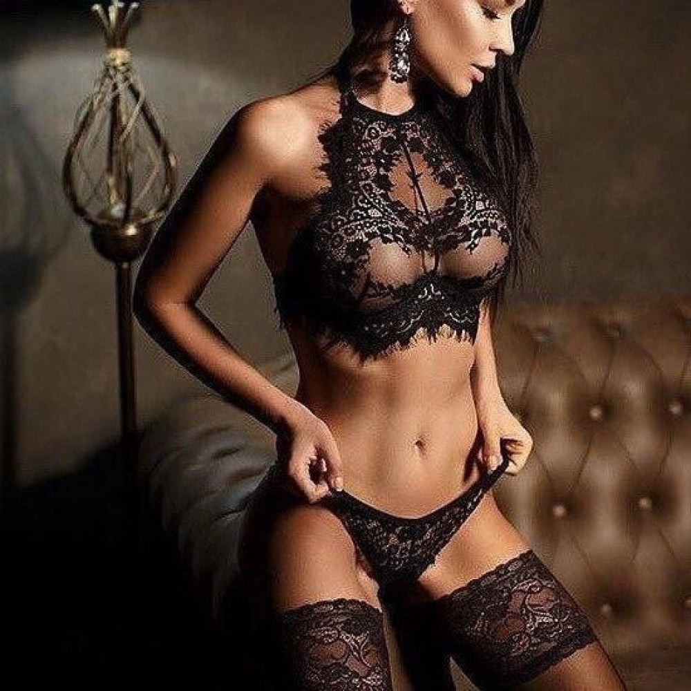 Sexy Lingerie Lace Flowers Push Up Top Bra Pants