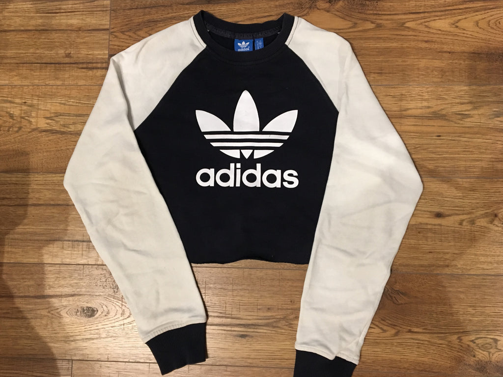 Adidas Blue & White Block Coloured Sweatshirt - Small - Vintage Society
