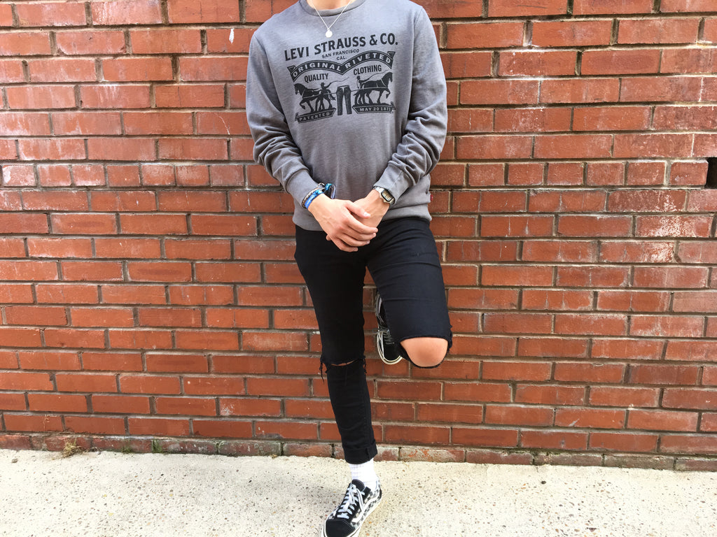 Vintage Levi's Printed Sweatshirt - Grey - Large