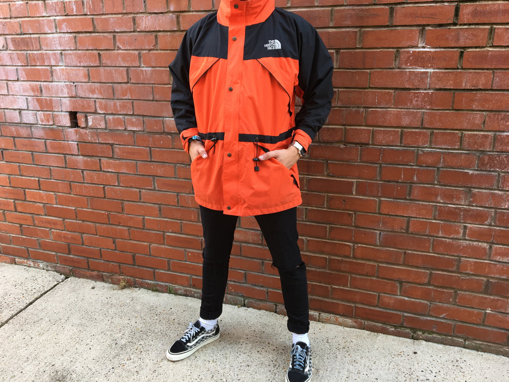 The North Face Gore Text Waterproof Coat - Orange/ Black - Large