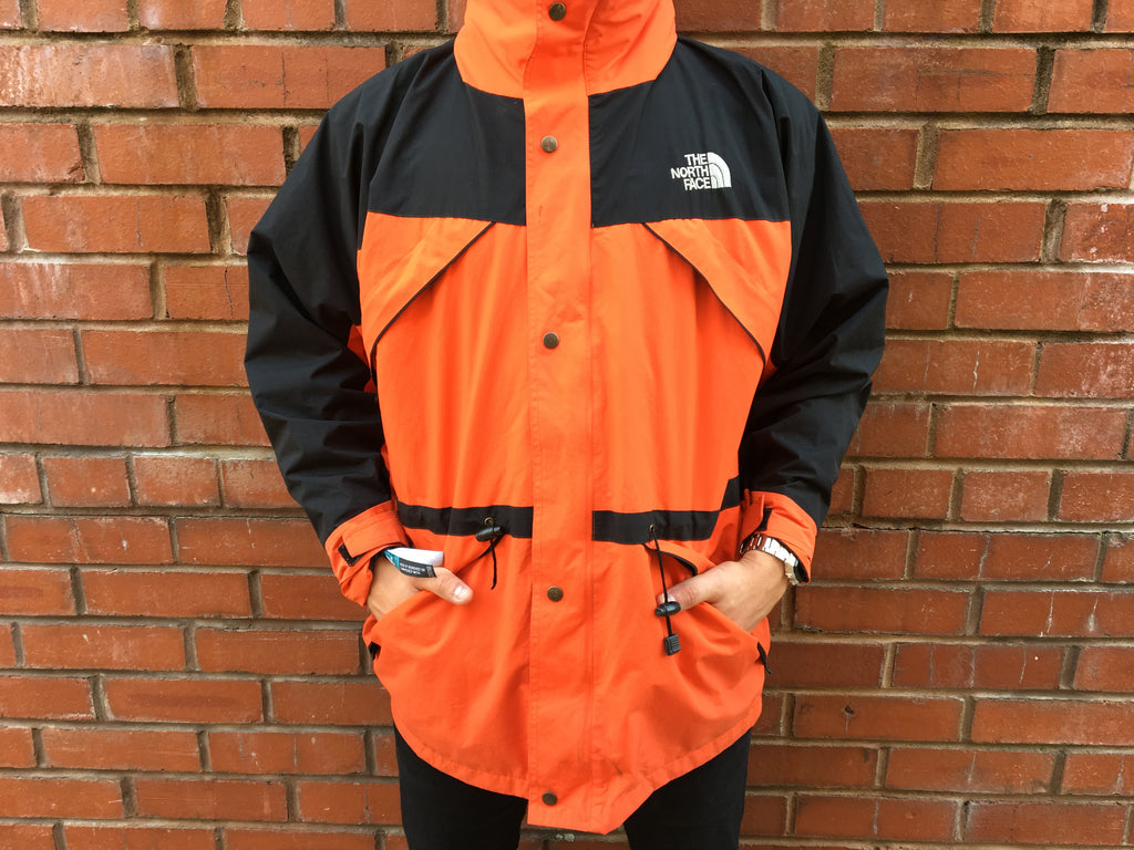 The North Face Gore Text Waterproof Coat - Orange/ Black - Large - Vintage Society