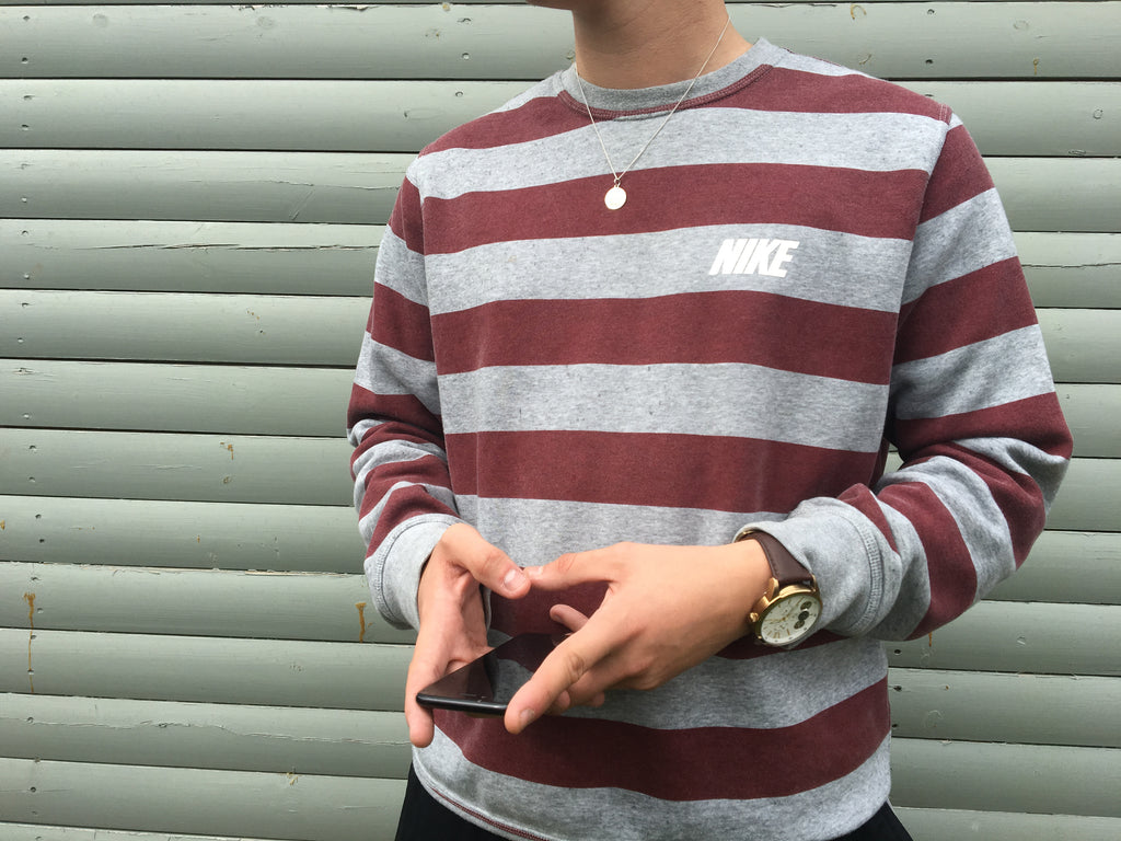 Vintage Nike Striped Sweatshirt - Grey & Burgundy - Large