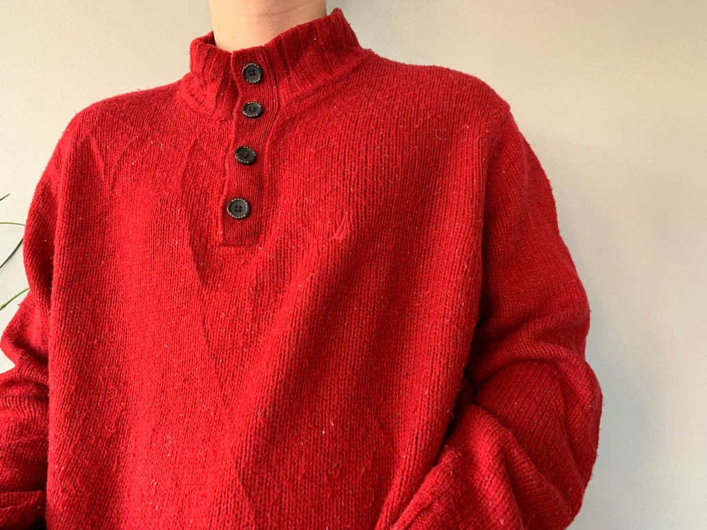 Nautica Woolly Sweatshirt - Red - XL