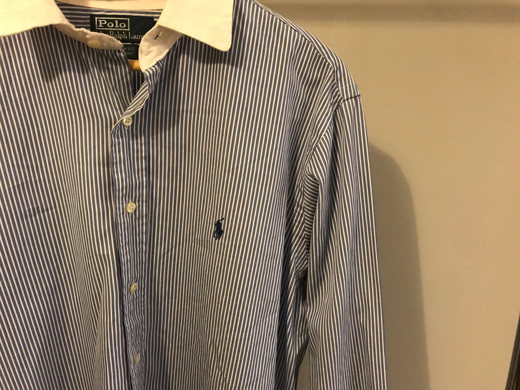 Ralph Lauren Vertically Striped Shirt - Blue - Large - Vintage Society