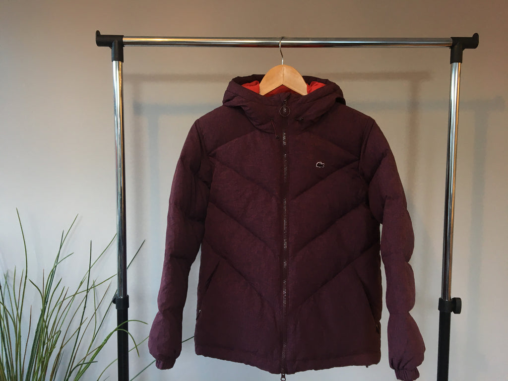 Lacoste Puffer Coat - Burgundy - Small - Vintage Society