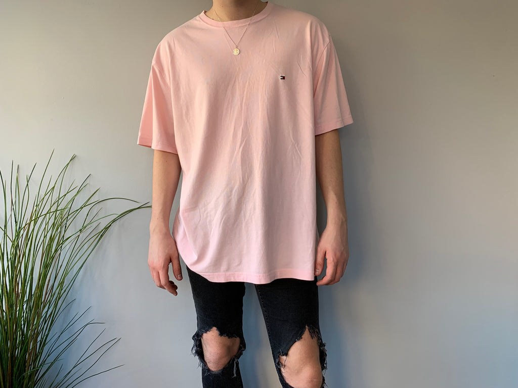 Tommy Hilfiger Pink T-Shirt - XL - Vintage Society
