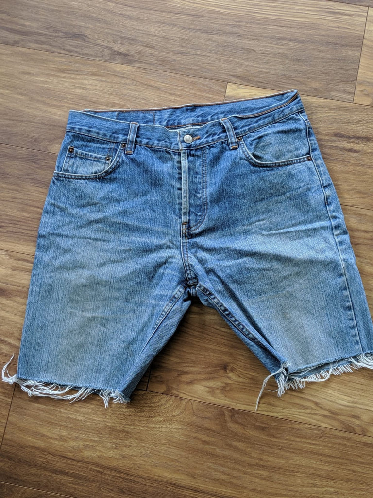 Vintage Levis Reworked Denim Shorts - Waist 34 - Vintage Society