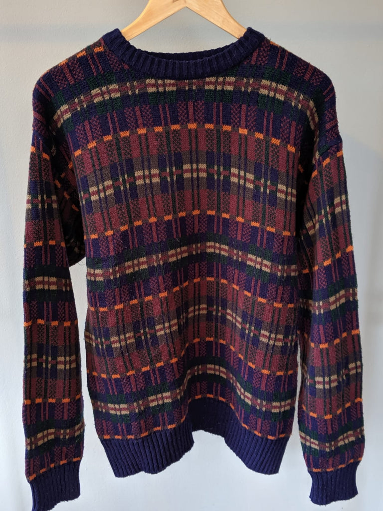 Cosby Style 90s Knitted Sweatshirt - Medium - Vintage Society