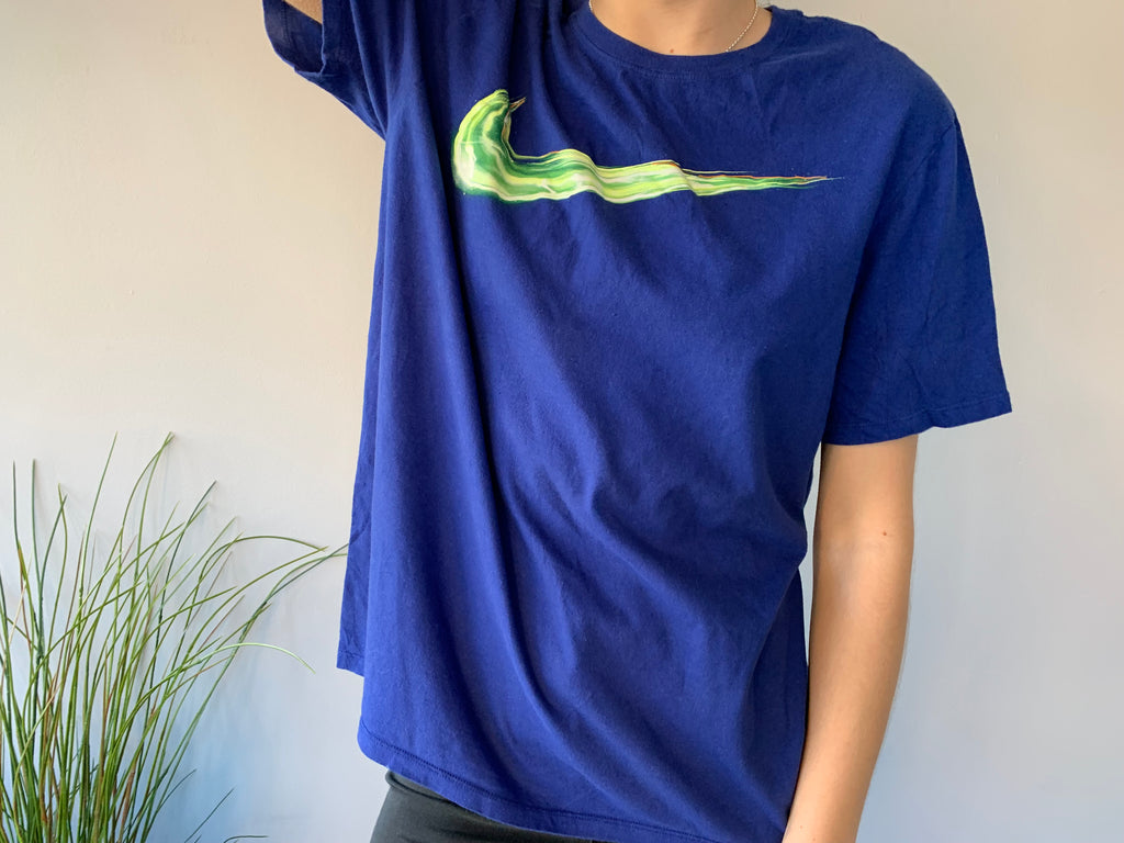 Nike T-Shirt - Blue & Electric Green - Large - Vintage Society