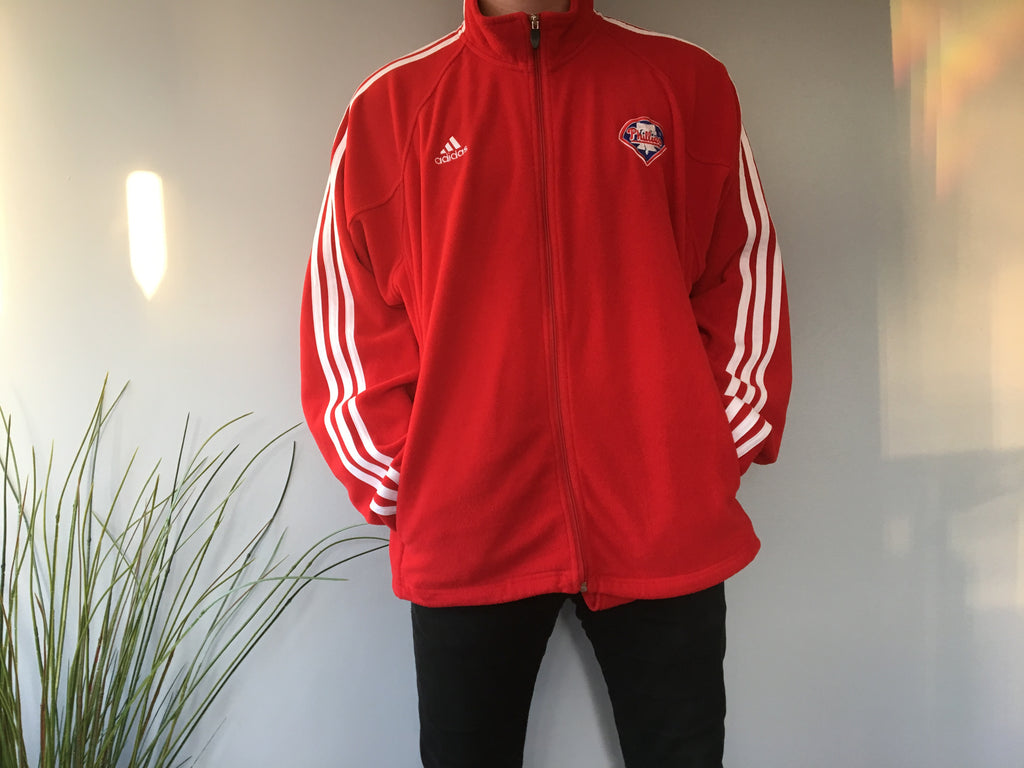 Adidas Phillies Zipper Fleece - Red - XL