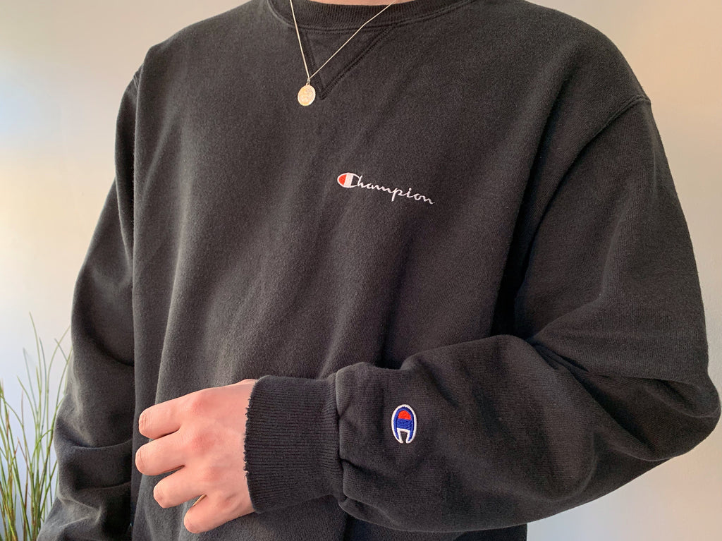 Champion Spell Out Crewneck Sweatshirt - Black - Large - Vintage Society