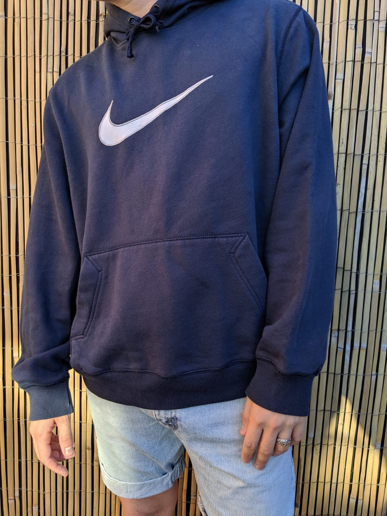 Nike Centre Swoosh Hoodie - Navy - XL - Vintage Society