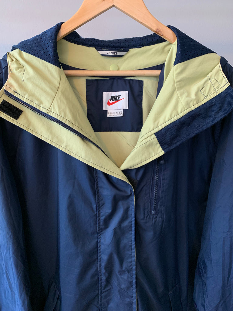 Vintage Nike Quilted Coat - Blue - XL - Vintage Society