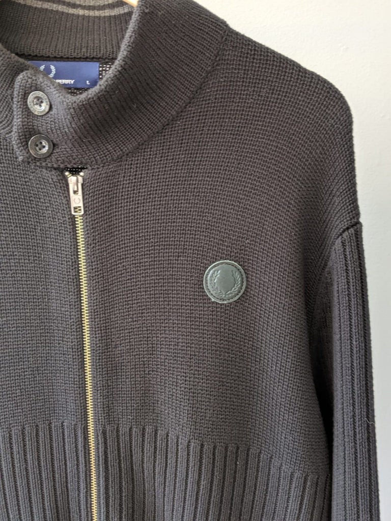 Fred Perry Full Zipper Knit - Black - Large