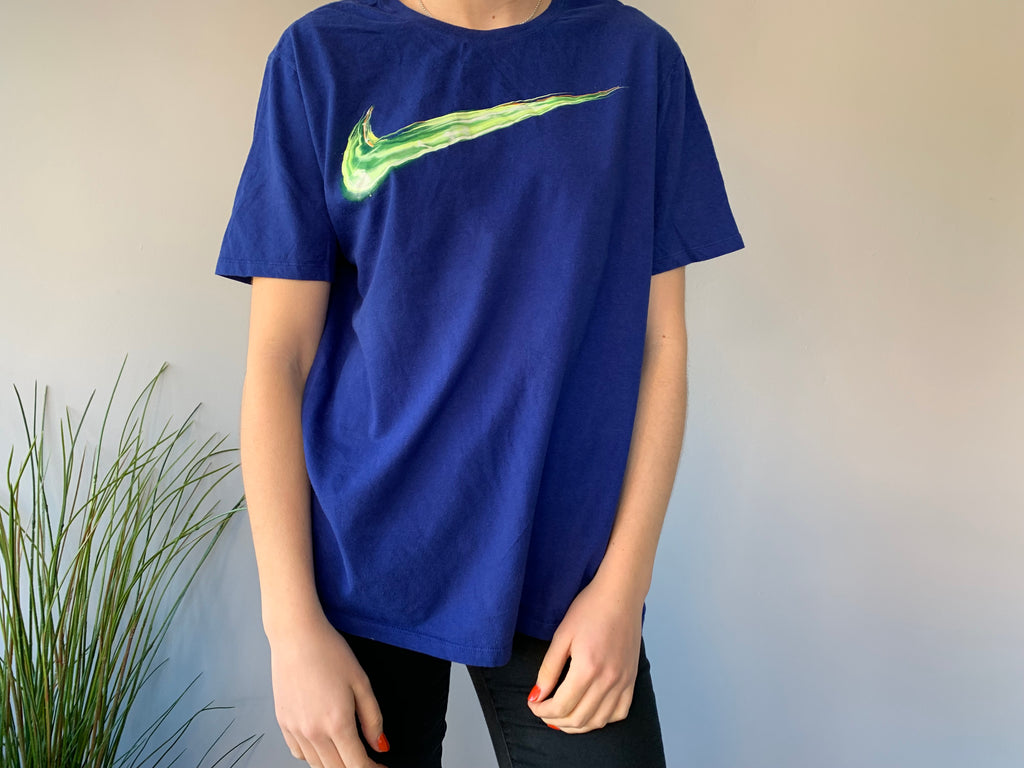 Nike T-Shirt - Blue & Electric Green - Large